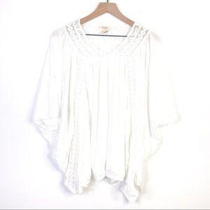 Sundance White Asymmetrical White Flowy Blouse Top